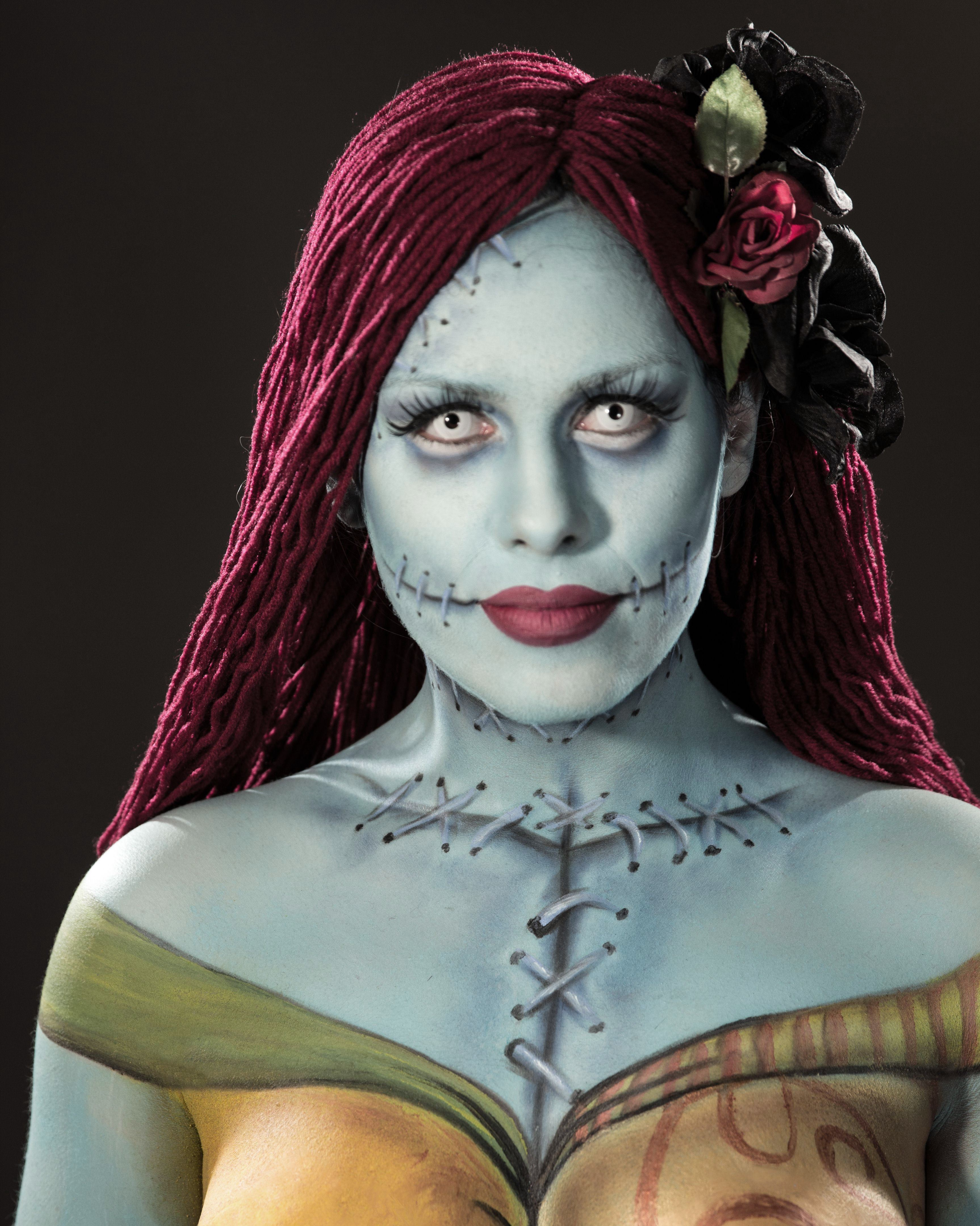 Nightmare Before Christmas/Sally inspired body paint | maramakeup
